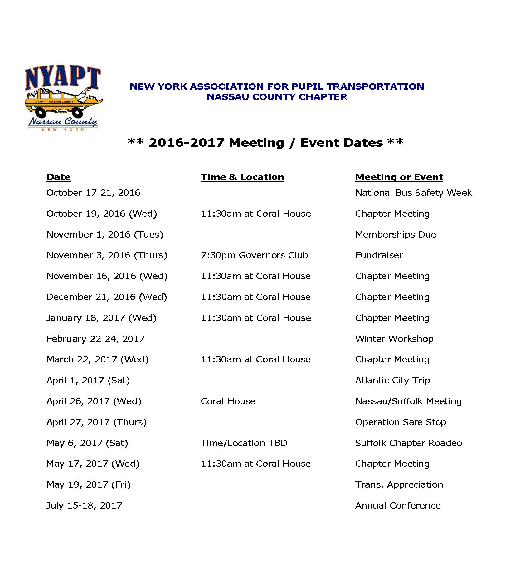 2016-2017 Meeting Dates Announced