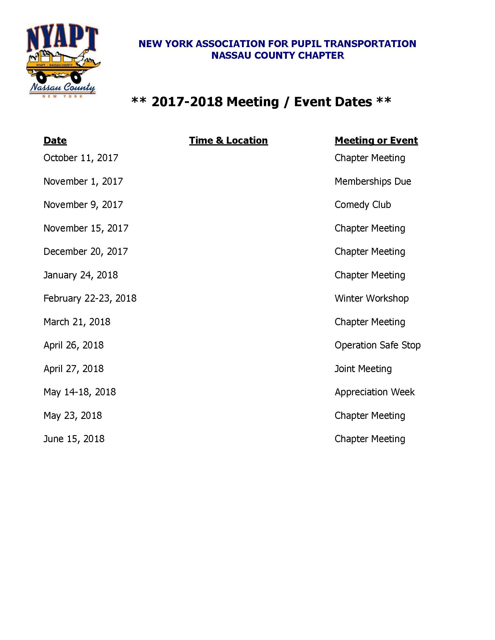 NYAPT Meeting Dates 2018 New York State Nassau County Chapter of Pupil Transportation